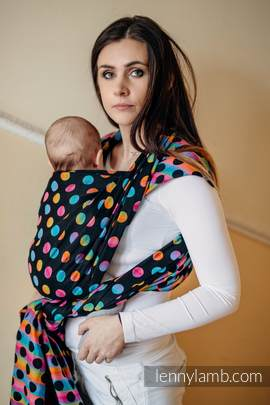 Baby Wrap, Jacquard Weave (100% cotton) - POLKA DOTS RAINBOW DARK - size S