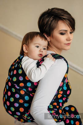 Baby Wrap, Jacquard Weave (100% cotton) - POLKA DOTS RAINBOW DARK - size M