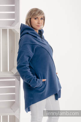 Asymmetrical Fleece Hoodie for Women - size XXL - Blue
