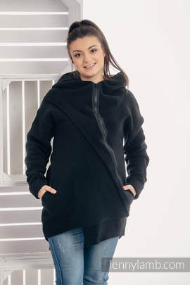 Asymmetrical Fleece Hoodie for Women - size XXL - Black