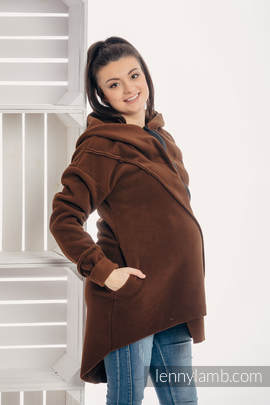 Asymmetrical Fleece Hoodie for Women - size XL - Brown
