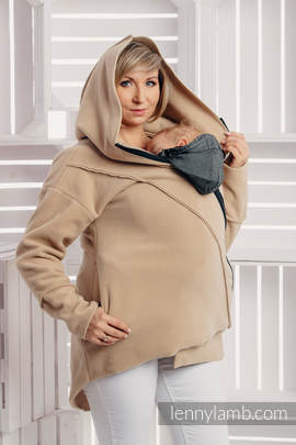 Asymmetrical Fleece Hoodie for Women - size XXL - Cafe Latte