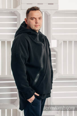 Asymmetrical Fleece Hoodie for Men - size XL - Black (grade B)