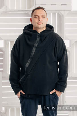 Asymmetrical Fleece Hoodie for Men - size XXL - Black