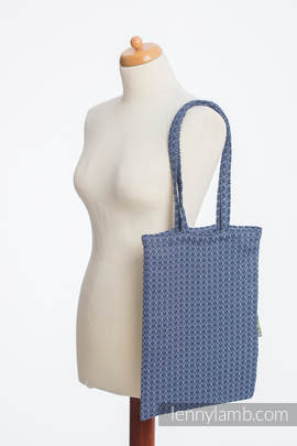 Shopping bag made of wrap fabric (60% cotton, 40% bamboo) - LITTLE LOVE - AQUA - standard size 33cmx39cm