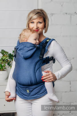 Basic Line Ergonomic Carrier - COBALT, Baby Size, herringbone weave 100% cotton - Second Generation (grade B)
