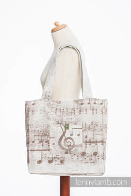 Shoulder bag made of wrap fabric (100% cotton) - SYMPHONY CREME & BROWN - standard size 37cmx37cm