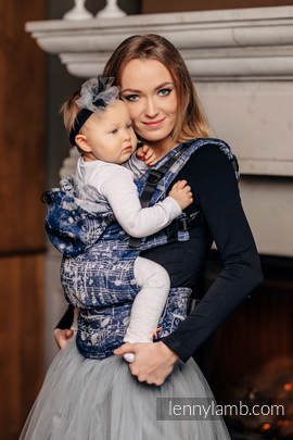 Ergonomic Carrier, Baby Size, jacquard weave 100% cotton - SYMPHONY NAVY BLUE & GREY - Second Generation (grade B)