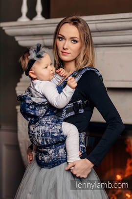 Ergonomic Carrier, Toddler Size, jacquard weave 100% cotton - wrap conversion from SYMPHONY NAVY BLUE & GREY - Second Generation