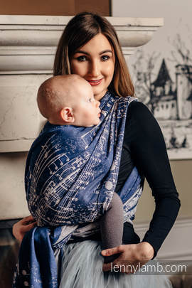 Baby Wrap, Jacquard Weave (100% cotton) - SYMPHONY NAVY BLUE & GREY - size XL