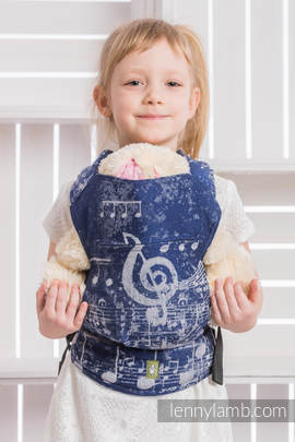 Doll Carrier made of woven fabric, 100% cotton - SYMPHONY NAVY BLUE & GREY