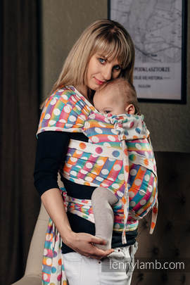 WRAP-TAI carrier Mini with hood/ jacquard twill / 100% cotton / POLKA DOTS RAINBOW
