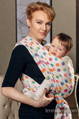 Baby Wrap, Jacquard Weave (100% cotton) - POLKA DOTS RAINBOW - size S