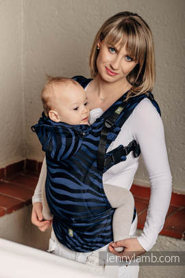 Ergonomic Carrier, Toddler Size, jacquard weave 100% cotton - wrap conversion from ZEBRA BLACK & NAVY BLUE  - Second Generation