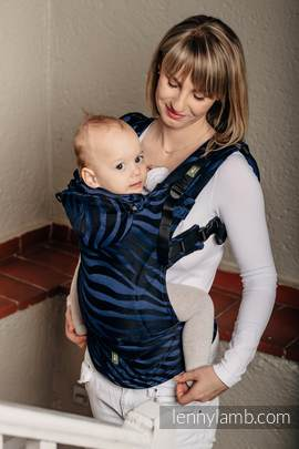 Ergonomic Carrier, Baby Size, jacquard weave 100% cotton - wrap conversion ZEBRA BLACK & NAVY BLUE - Second Generation