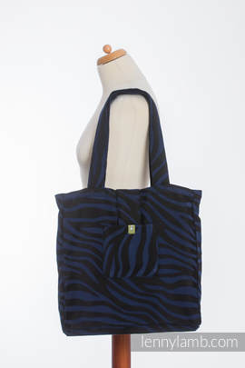 Shoulder bag made of wrap fabric (100% cotton) - ZEBRA BLACK & NAVY BLUE  - standard size 37cmx37cm