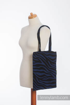 Shopping bag made of wrap fabric (100% cotton) - ZEBRA BLACK & NAVY BLUE  - standard size 33cmx39cm