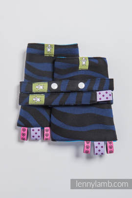 Drool Pads & Reach Straps Set, (100% cotton) - ZEBRA BLACK & NAVY BLUE