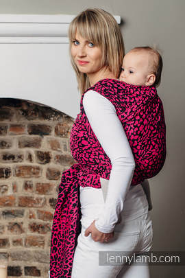Baby Wrap, Jacquard Weave (100% cotton) - CHEETAH BLACK & PINK  - size XS