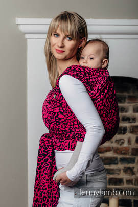 Baby Wrap, Jacquard Weave (100% cotton) - CHEETAH BLACK & PINK - size M