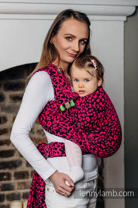 Baby Wrap, Jacquard Weave (100% cotton) - CHEETAH BLACK & PINK  - size XL