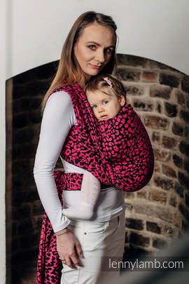 Baby Wrap, Jacquard Weave (100% cotton) - CHEETAH BLACK & PINK  - size S