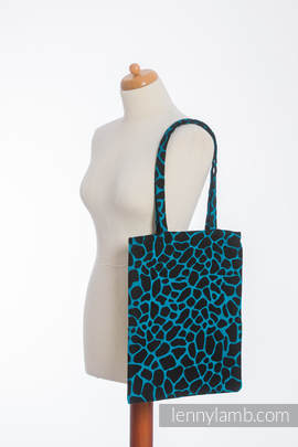 Shopping bag made of wrap fabric (100% cotton) - GIRAFFE BLACK & TORQUOISE