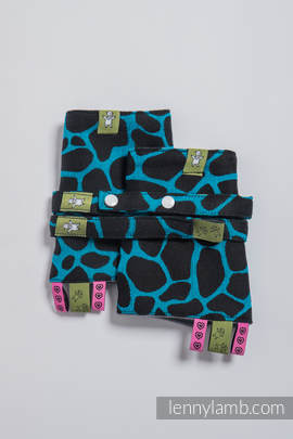 Drool Pads & Reach Straps Set, (100% cotton) - GIRAFFE BLACK & TORQUOISE