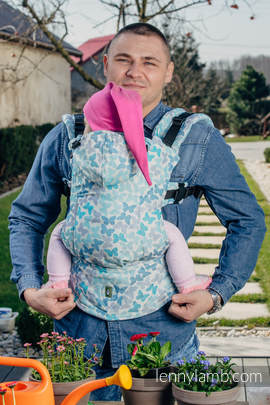 Ergonomic Carrier, Toddler Size, jacquard weave 100% cotton - wrap conversion from BUTTERFLY WINGS BLUE  - Second Generation