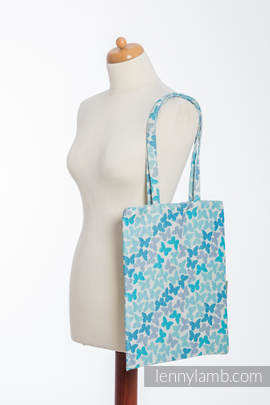 Shopping bag made of wrap fabric (100% cotton) - BUTTERFLY WINGS BLUE