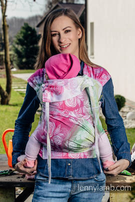 WRAP-TAI carrier Mini with hood/ jacquard twill / 100% cotton / ROSE BLOSSOM