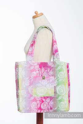 Shoulder bag made of wrap fabric (100% cotton) - ROSE BLOSSOM - standard size 37cmx37cm