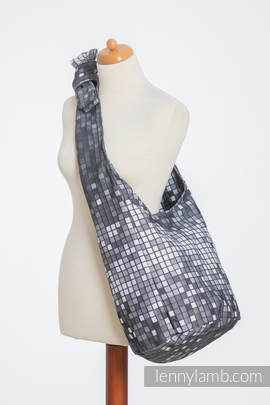 Hobo Bag made of woven fabric, 100% cotton - MOSAIC - MONOCHROME