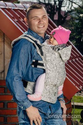 Ergonomic Carrier, Baby Size, jacquard weave 100% cotton - wrap conversion from PANORAMA  - Second Generation