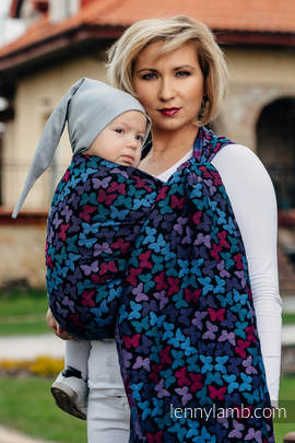 Baby Wrap, Jacquard Weave (100% cotton) - BUTTERFLY WINGS at NIGHT - size M