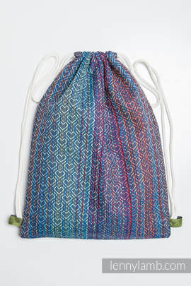 Sackpack made of wrap fabric (100% cotton) - BIG LOVE - SAPPHIRE - standard size 32cmx43cm