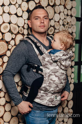 Ergonomic Carrier, Toddler Size, jacquard weave 100% cotton - wrap conversion from BEIGE CAMO - Second Generation