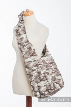 Hobo Bag made of woven fabric (100% cotton) - BEIGE CAMO