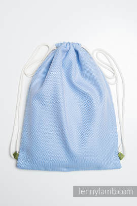Sackpack made of wrap fabric (100% cotton) - LITTLE HERRINGBONE BLUE  - standard size 32cmx43cm (grade B)