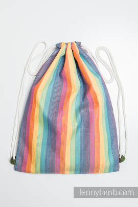 Sackpack made of wrap fabric (60% cotton 40% bamboo) - RAINBOW LIGHT- standard size 32cmx43cm