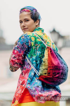 Sackpack made of wrap fabric (100% cotton) - SYMPHONY RAINBOW DARK - standard size 32cmx43cm