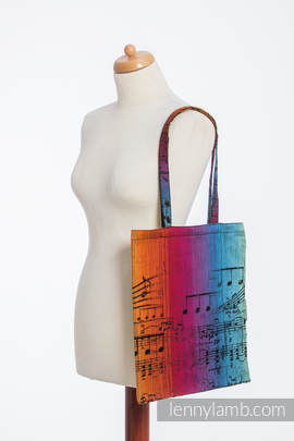 Shopping bag made of wrap fabric (100% cotton) - SYMPHONY RAINBOW DARK