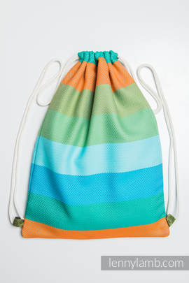 Sackpack made of wrap fabric (100% cotton) - LITTLE HERRINGBONE SUNFLOWER - standard size 32cmx43cm