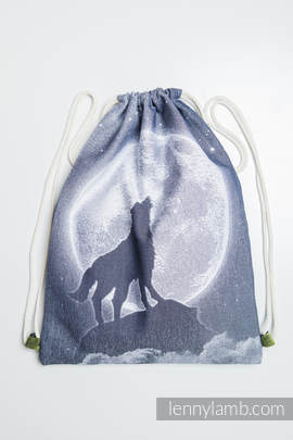 Sackpack made of wrap fabric (100% cotton) - MOONLIGHT WOLF - standard size 32cmx43cm