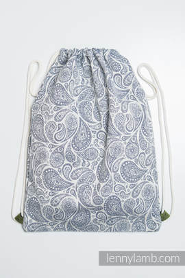 Sackpack made of wrap fabric (100% cotton) - PAISLEY NAVY BLUE & CREAM - standard size 35cmx45cm