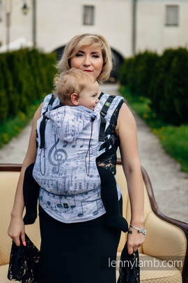 Ergonomic Carrier, Baby Size, jacquard weave 60% cotton 28% linen 12% tussah silk - wrap conversion from ROYAL SYMPHONY, Second Generation