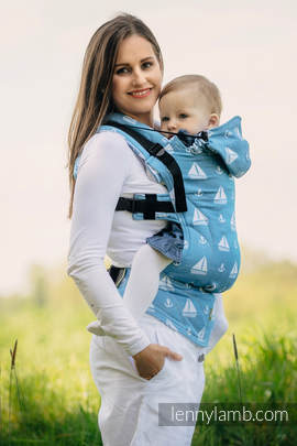Ergonomic Carrier, Baby Size, jacquard weave 100% cotton - wrap conversion from HOLIDAY CRUISE - Second Generation (grade B)