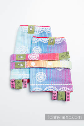 Drool Pads & Reach Straps Set, (100% cotton) - RAINBOW LACE  (grade B)