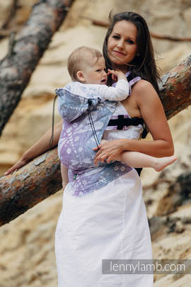 Ergonomic Carrier, Baby Size, jacquard weave 60% cotton 40% linen - wrap conversion from DRAGONFLY LAVENDER, Second Generation (grade B)