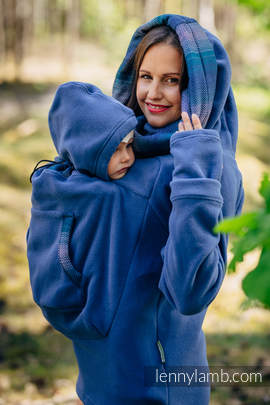 Fleece Babywearing Sweatshirt 2.0 - size XL - blue with Little Herringbone Illusion